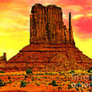 Monument Valley Right Mitten Sunrise Painting Poster