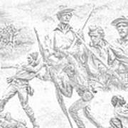 Monuments On The Gettysburg Battlefield Sketch Poster