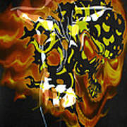 Moon Bath With Burning Skull Poster