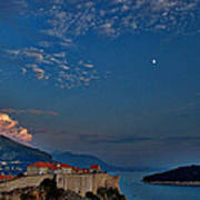 Moon Over Dubrovnik's Walls Poster