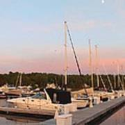 Moon Over Egg Harbor Marina Poster