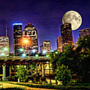 Moon Over Houston Poster by Lester Phipps