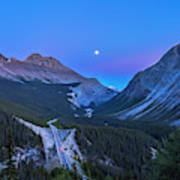 Moon Over Icefields Parkway Poster