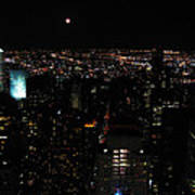 Moon Over New York City Poster