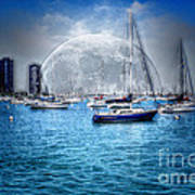 Moon Over The City Harbor Poster