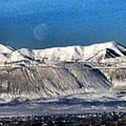 Moon Over The Snow Covered Mountains Poster