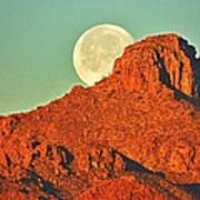 Moon Over Tucson Mountains Poster