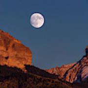 Moon Rise Over Cimarron Mountain Range Poster