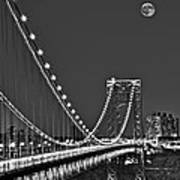 Moon Rise Over The George Washington Bridge Bw Poster
