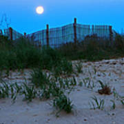 Moon Setting At Beach Plum Island Poster
