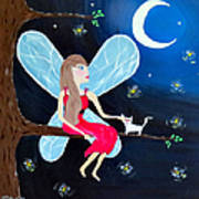 Moonlight Fairy And Fireflies Poster