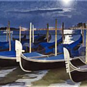 Moonlight Gondolas - Venice Poster