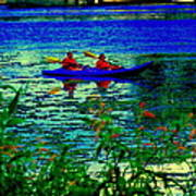Moonlight Kayak Ride Along The Coastline Of The Lachine Canal Quebec Sea Scenes Carole Spandau Poster