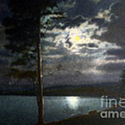 Moonlight On Yellowstone Lake Poster