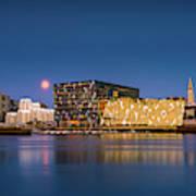 Moonlight Over Reykjavik Harbor Poster