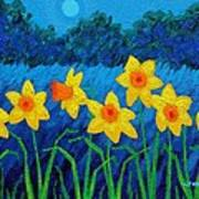 Moonlit Daffodils  Poster