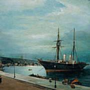 Moonlit Harbour Of Volos Poster