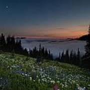 Moonlit Rainier Meadows Sunset Poster