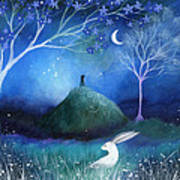 Moonlite And Hare Poster by Amanda Clark