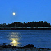 Moonrise Acadia National Park Poster