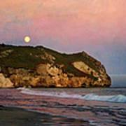 Moonrise At Avila Beach Poster