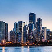 Moonrise Over Chicago Skyline Poster