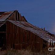 Moonrise Over Decrepit Barn Poster