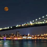 Moonrise Over Manhattan Poster
