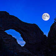 Moonrise Over North Window Arch Poster