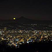 Moonrise Over Portland Oregon Cityscape Poster