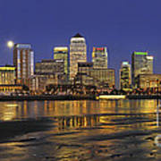 Moonrise Over River Thames Flowing Past Canary Wharf Poster