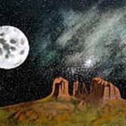 Moonrise Over Sedona Poster by John Lyes