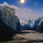 Moonrise Over Yosemite National Park Poster
