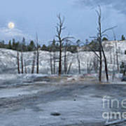 Moonset At Mammoth Terrace-yellowstone Poster
