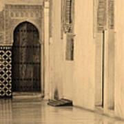 Moorish Walkway In Sepia At The Alhambra Poster