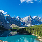 Moraine Lake At Banff National Park Poster