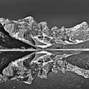 Moraine Lake - Black And White Poster