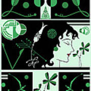 Morioka Montage In Green And Black Poster