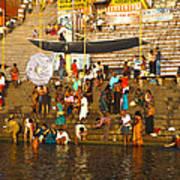 Morning Bathing At Kedar Ghat Poster