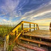 Morning Beach Walk Poster by Debra and Dave Vanderlaan