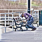 Morning Exercise On The Boardwalk Poster