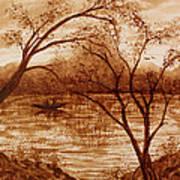 Morning Fishing Original Coffee Painting Poster
