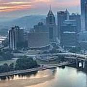 Morning Light Over The City Of Bridges Poster