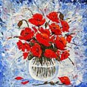Morning Red Poppies Original Palette Knife Painting Poster