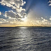 Morning Sun Punching Through The Clouds In St. Croix Poster
