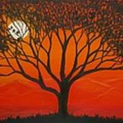 Morning Tree-with Yellow And Orange Sky Lit By Dawn Sun Poster