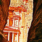 Morning View Of The Treasury From The Gorge In Petra-jordan  Poster