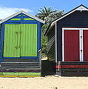 Mornington Beachboxes Poster by Rachael Curry