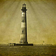 Morris Island Light Vintage Bw Uncropped Poster