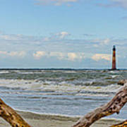 Morris Island Light With Driftwood Poster